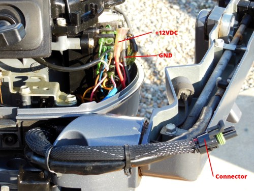 small resolution of front of motor showing wiring connections and male connector