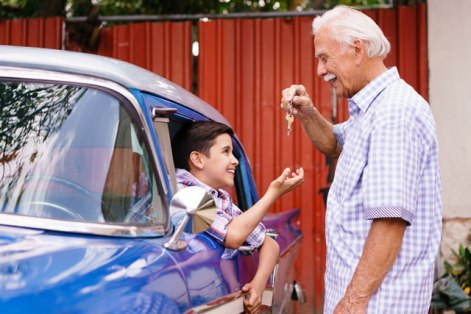 This Ole Coupe   Windshield Regulator Parts Grandfather with his Grandson