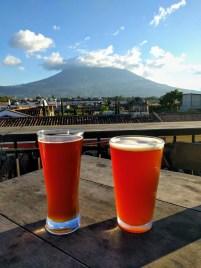 Beers overlooking Volcan de Agua