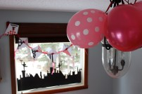 Baloons to match the tickled pink decor.