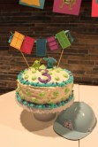 The cake with Sully fur trim and Mike-green spots.
