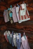 Made an apron for each guest (had kerchiefs for the couple of little men that came).