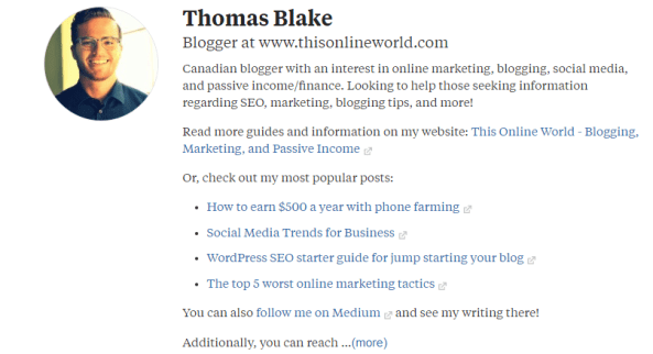 Quora Profile Page