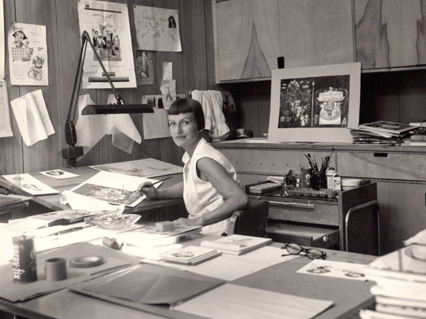 Mary Blair in her home studio. Credit: Courtesy of the nieces of Mary Blair