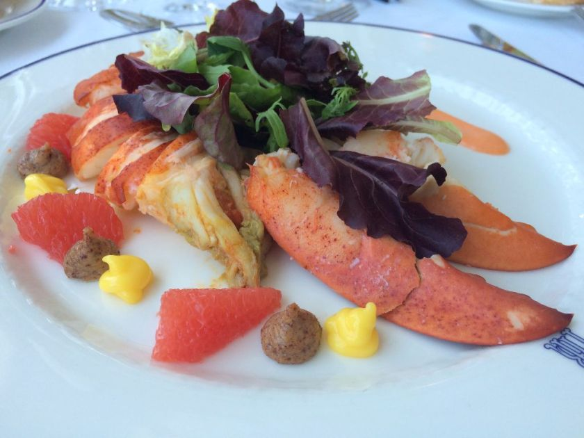 lobster salad with pink grapefruit, almond milk and orange oil.