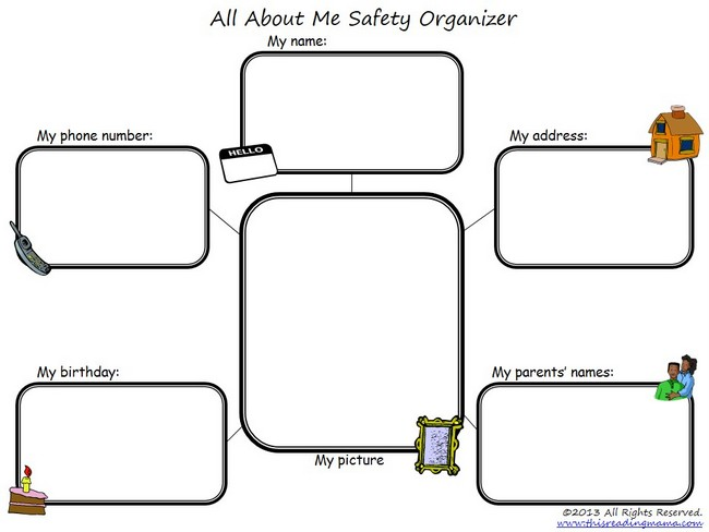 FREE All About Me Safety Organizer