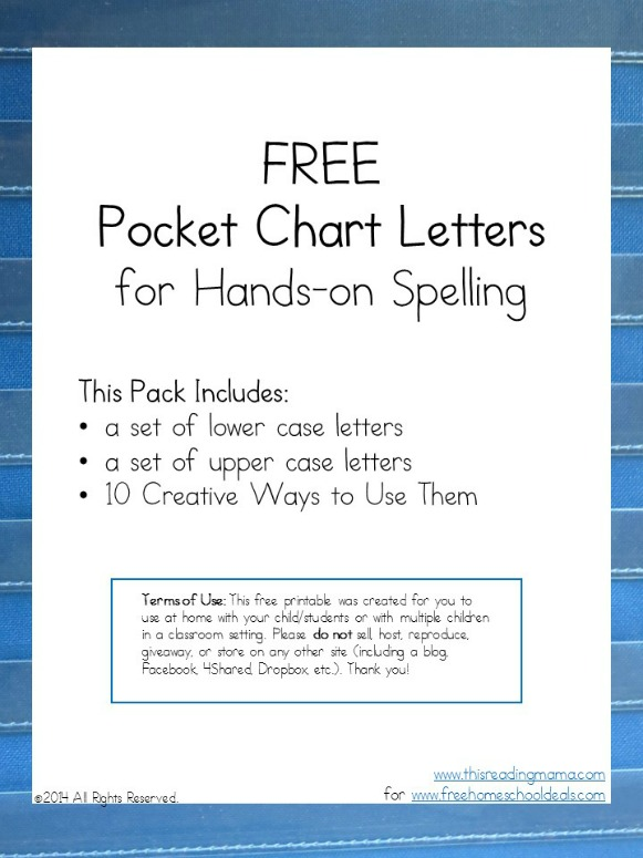 FREE Printable Pocket Chart Letters - Free Homeschool Deals