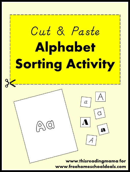 Cut and Paste Alphabet Sorting Activity   Free Homeschool Deals