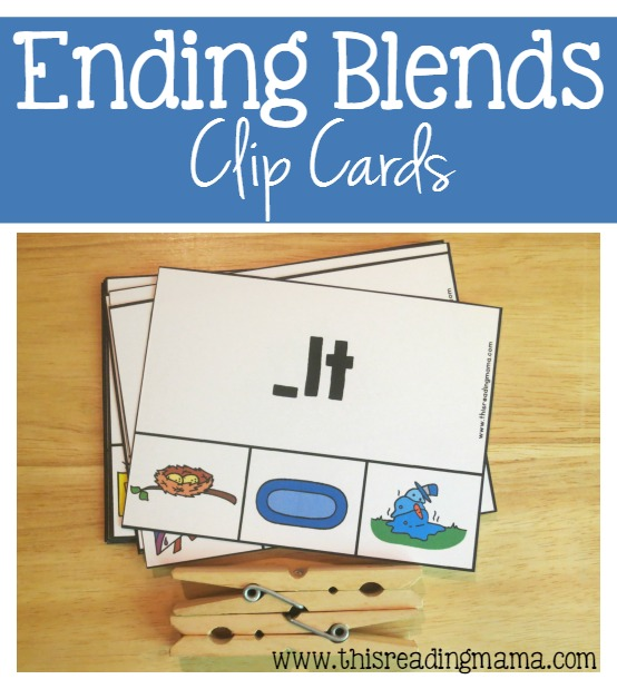 FREE Ending Blends Clip Cards - This Reading Mama
