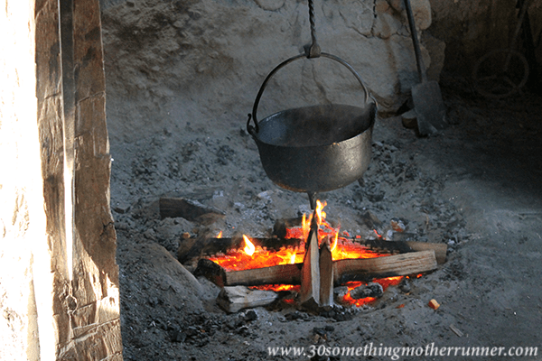Cooking over fire at Plimoth Plantation