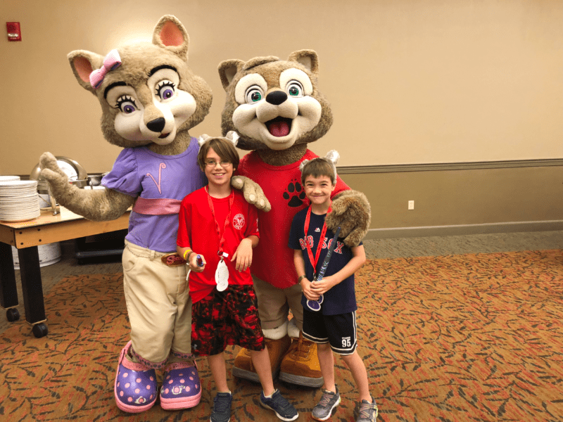 Posing with Wiley and Violet at Great Wolf Lodge