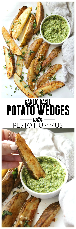 Potato Wedges with Pesto Hummus | VEGAN + GF| ThisSavoryVegan.com