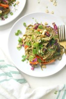 These Warm Spicy Peanut Soba Noodles are the perfect combination ofsautéed veggies, warm soba noodles and spicy peanut sauce. A vegan dinner that is ready in just 30 minutes!   ThisSavoryVegan.com #vegan #noodles