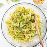 This Grilled Asparagus Pesto Pasta Salad is the perfect side dish for your next vegan BBQ. Homemade vegan pesto, crisp asparagus and chilled pasta | ThisSavoryVegan.com #thissavoryvegan #veganpastasalad #pestopastasalad