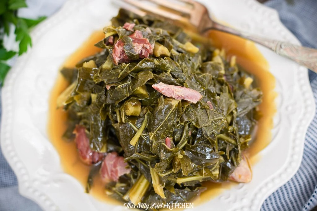 I made these the for the first time about seven years ago and have been making this exact collard green recipe ever since! #recipe from thissillygirlskitchen.com #collardgreens #southerncollardgreens #newyears #southernfood