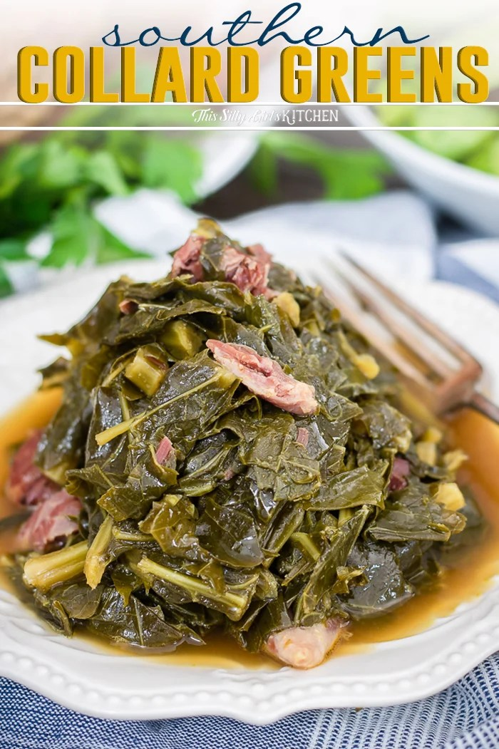 Close up of collard greens on white plate Pinterest Image