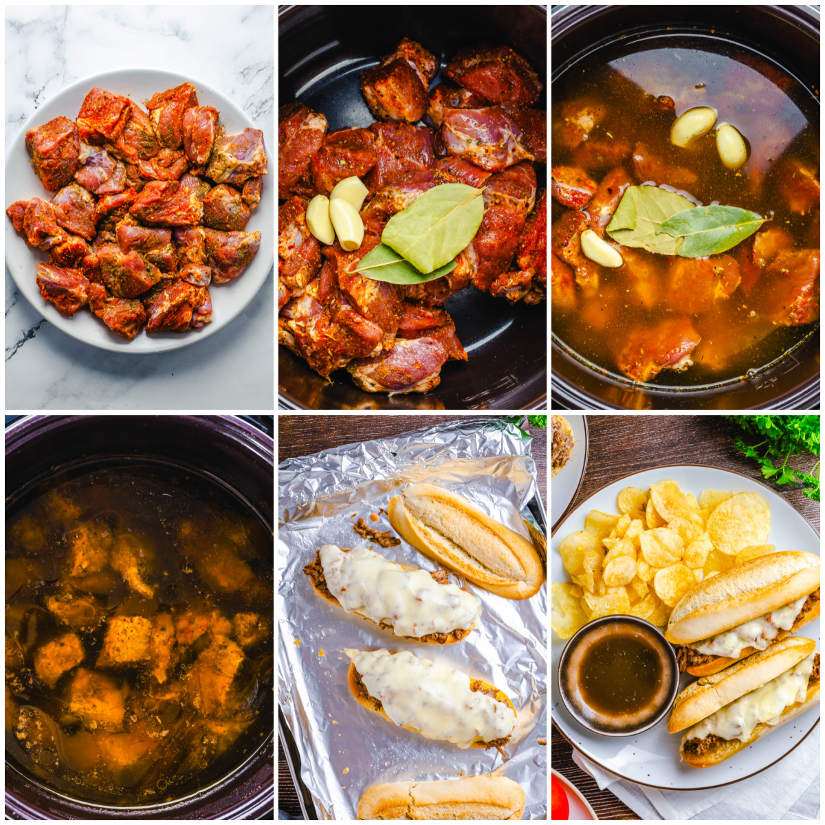 Step by step photos on how to make a Crock Pot French Dip