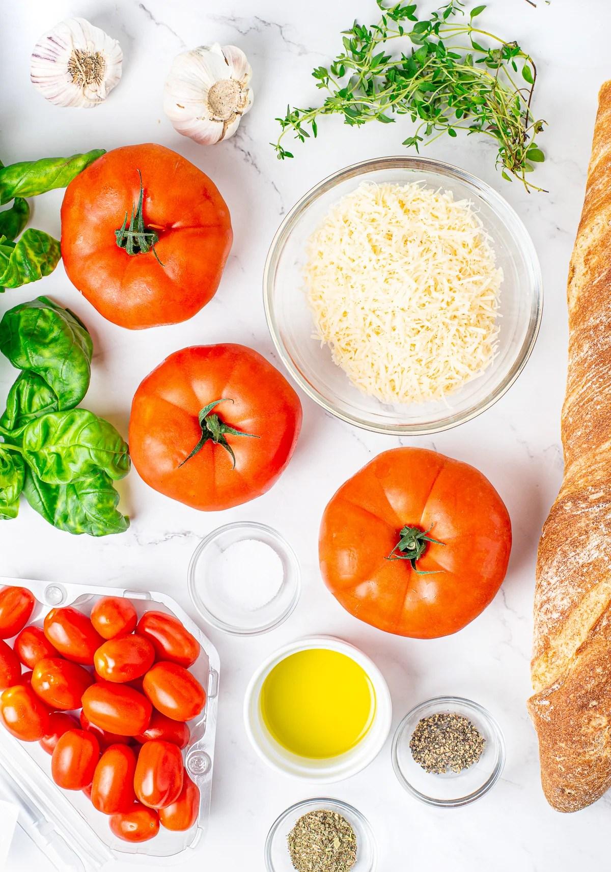 Ingredients needed to make Bruschetta with Garlic Crostini