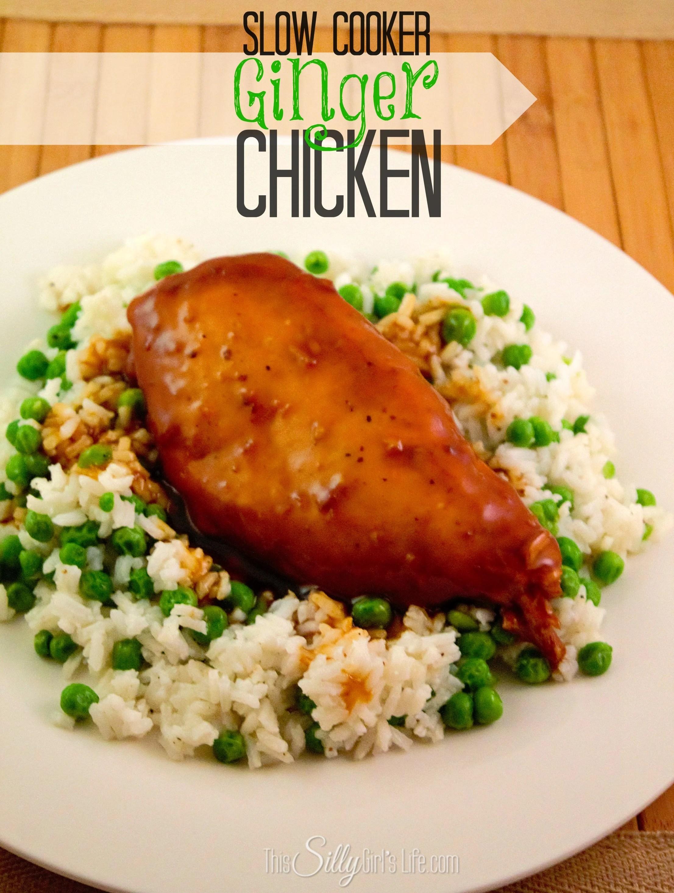 Slow Cooker Ginger Chicken recipe from https://ThisSillyGirlsLife.com #SlowCooker #Chicken #Asian #GingerChicken