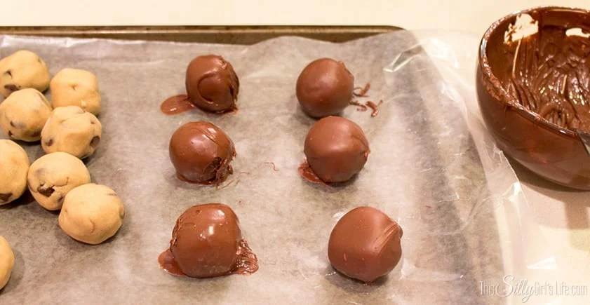 Chocolate Chip Cookie Dough Bon Bons. Edible chocolate chip cookie dough in a shell of crisp milk chocolate. So addictive!
