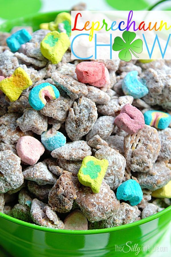 Leprechaun Chow, a fun twist on the classic muddy buddies for St. Patrick's Day!