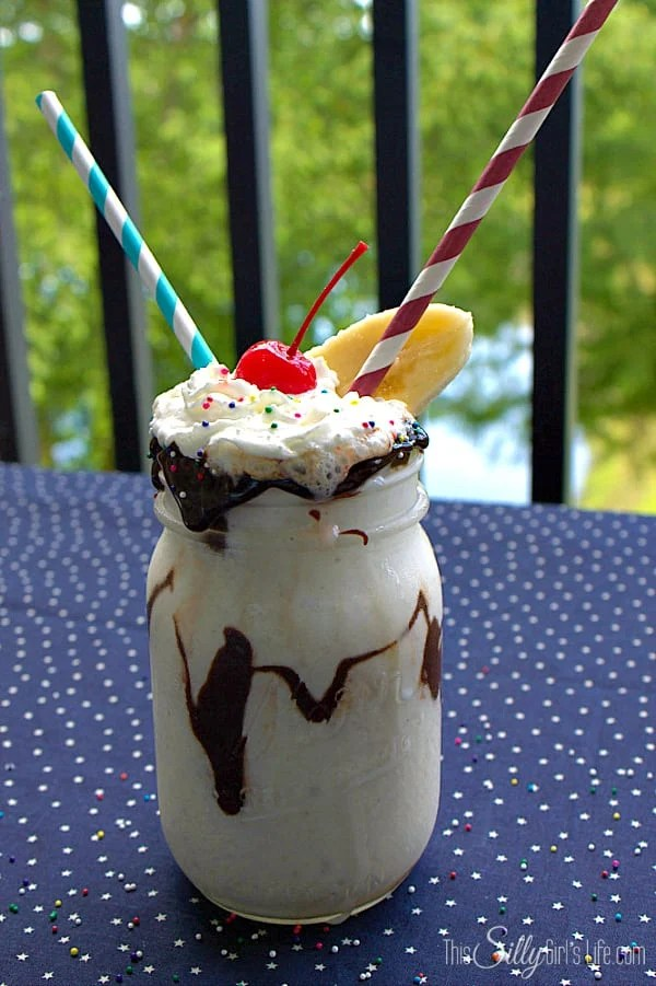 Banana Split Milkshake, vanilla ice cream mixed with fresh bananas, Coffe-Mate french vanilla creamer and whipped cream. Topped with hot fudge, whipped cream, sprinkles, banana slice and a cherry on top! #CMSalutingHeroes #shop