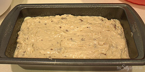 Spoon batter into 8x5 loaf pan that has been sprayed with cooking spray. Bake for 60-65 minutes, loosely covering the bread at the 30 minute mark with foil. This will make sure the bread doesn't get too dark. Bread is done when toothpick inserted comes out clean.