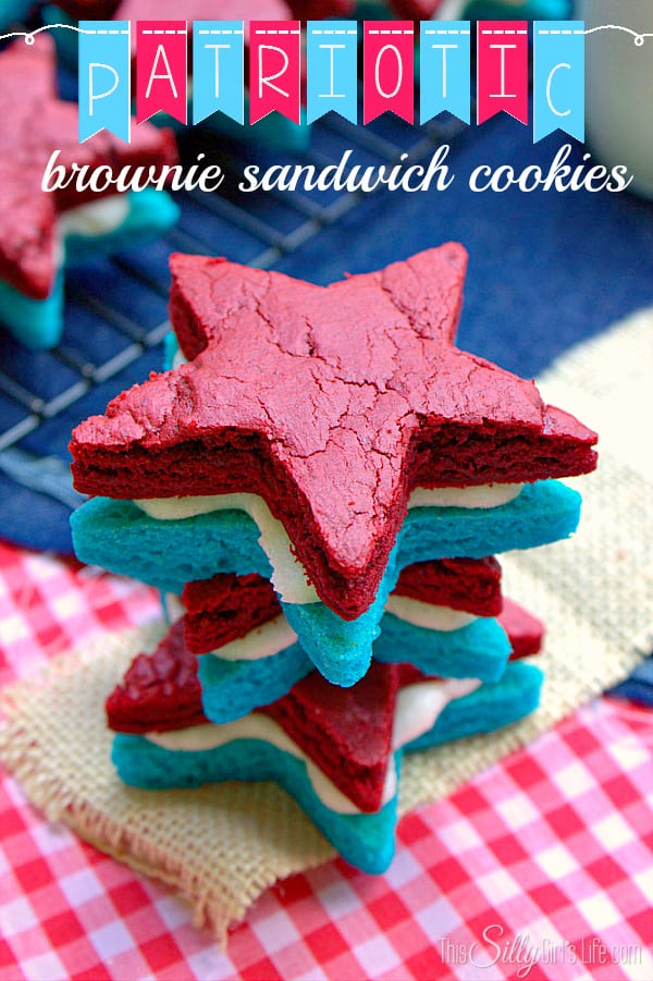 Patriotic Brownie Sandwich Cookies, decadent cream cheese frosting sandwiched between blue and red velvet brownies!