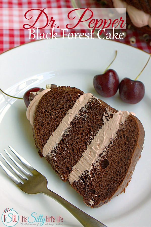 Dr. Pepper Black Forest Cake, layers of chocolate cake and buttercream flavored with Dr. Pepper Cherry and topped with fresh cherries!  #BackyardBash #shop