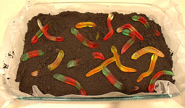 Top the whole thing with the remaining cookie crumbs. Place in freezer for at least 4 hours or until completely set. To serve, top with gummi worms and cut into bars, enjoy!
