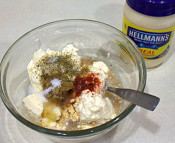 Mix the dressing in a separate bowl