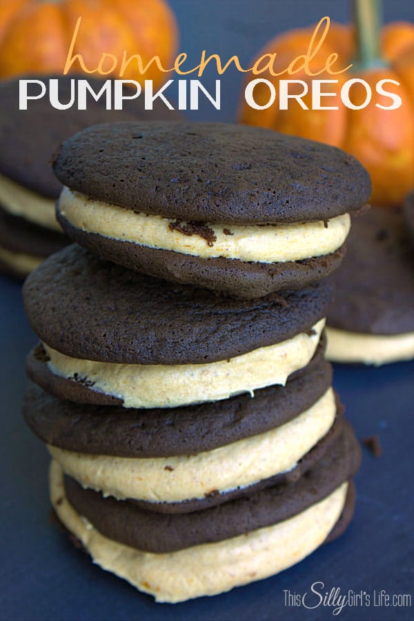 Homemade Pumpkin Oreos, soft cake like chocolate cookies with pumpkin cream cheese filling, a taste of fall!