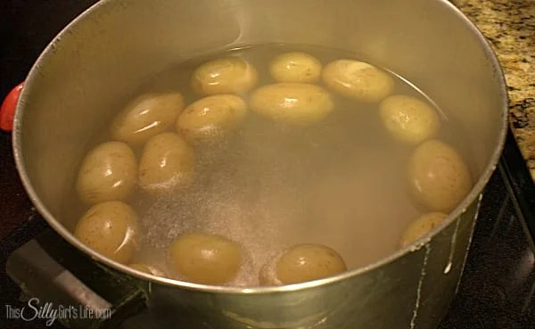 Rinse off potatoes and put into a large stock pot with the water and salt. Boil until fork tender 30-45 minutes.