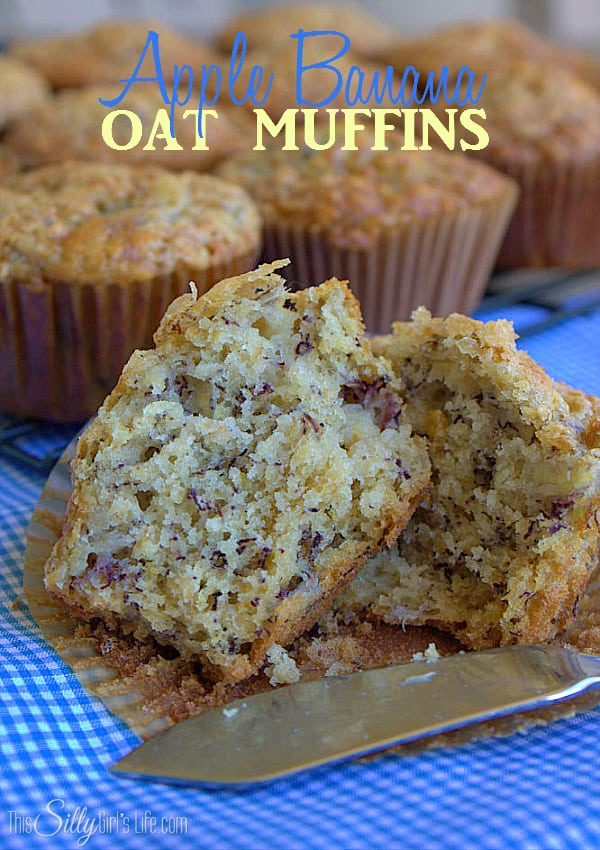 Apple Banana Oat Muffins, an easy, on the go snack with the flavors of banana bread! - ThisSillyGirlsLife.com #ChiquitaCookingLab