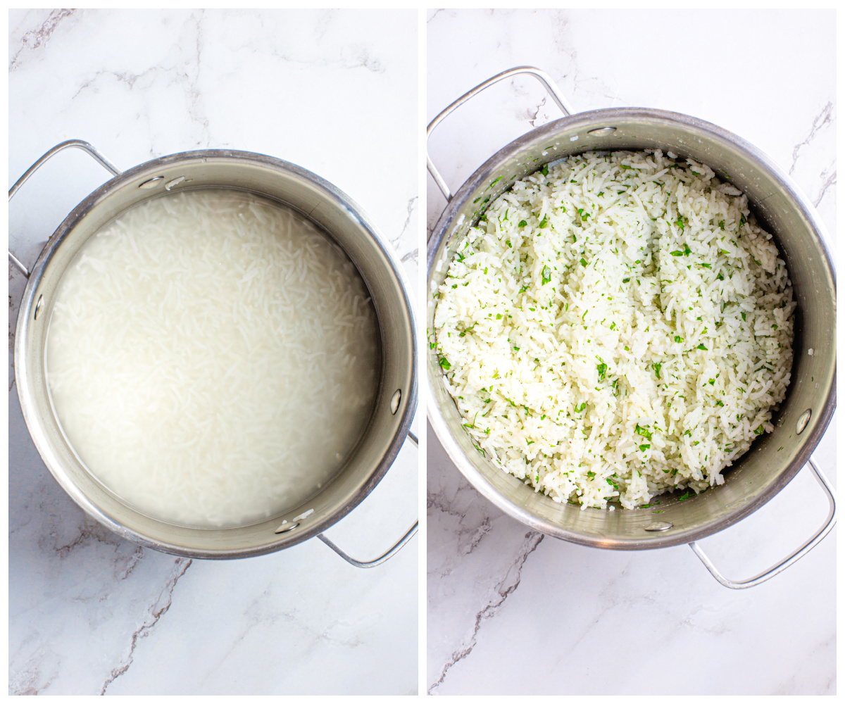 Step by step photos on how to make Cilantro Lime Rice