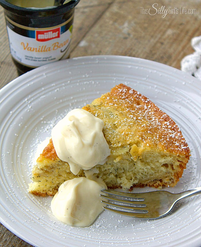 Banana Snacking Cake, moist and delicious made with mashed bananas and yogurt! - ThisSillyGirlsLife.com #MullerMoment #Ad