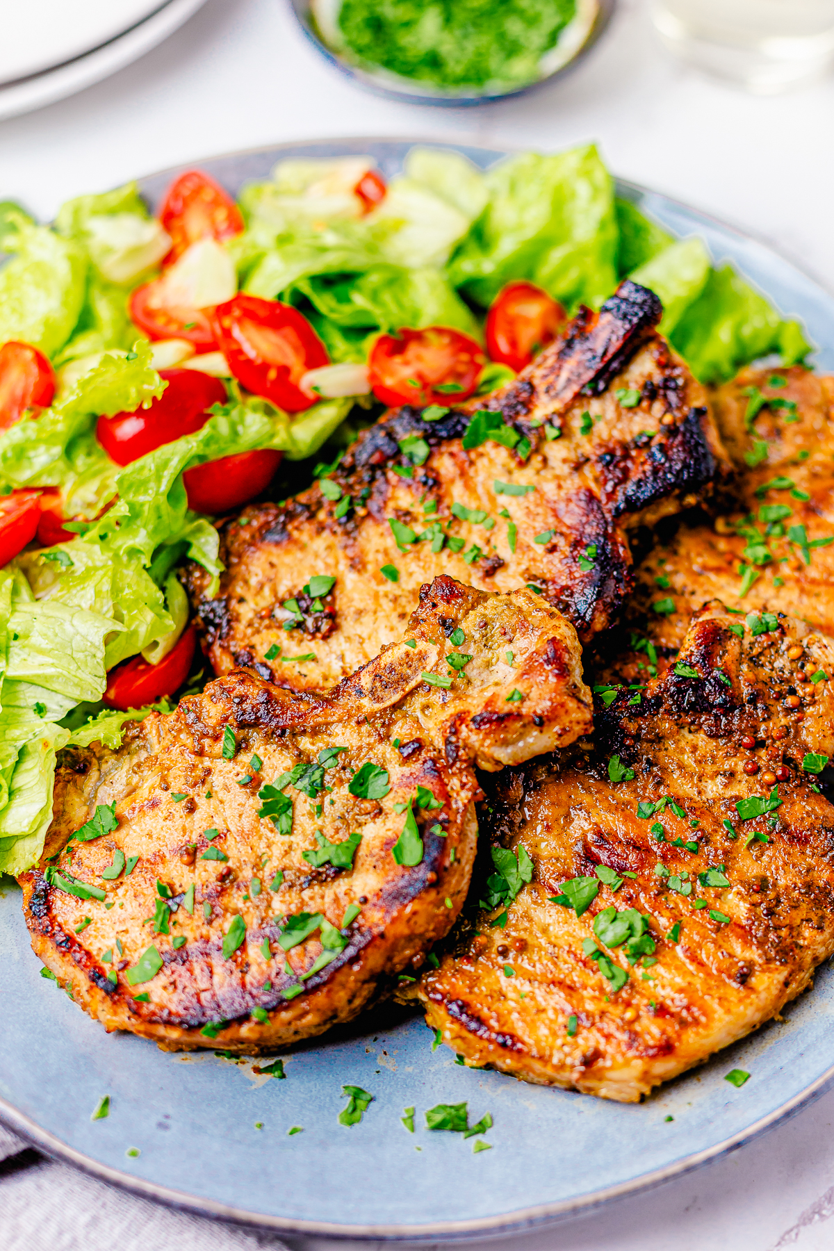 Two Grilled Pork Chops on plate with salad