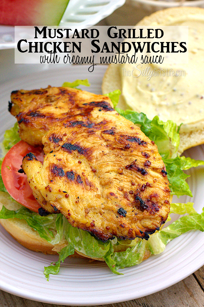 Mustard Grilled Chicken Sandwiches with Creamy Mustard Sauce, the most amazing chicken marinade, using mustard, garlic, lemon juice and more, perfect for chicken sandwiches! Plus bonus recipe for creamy mustard sauce! #KetchupsNewMustard #ad ThisSillyGirlsLife.com
