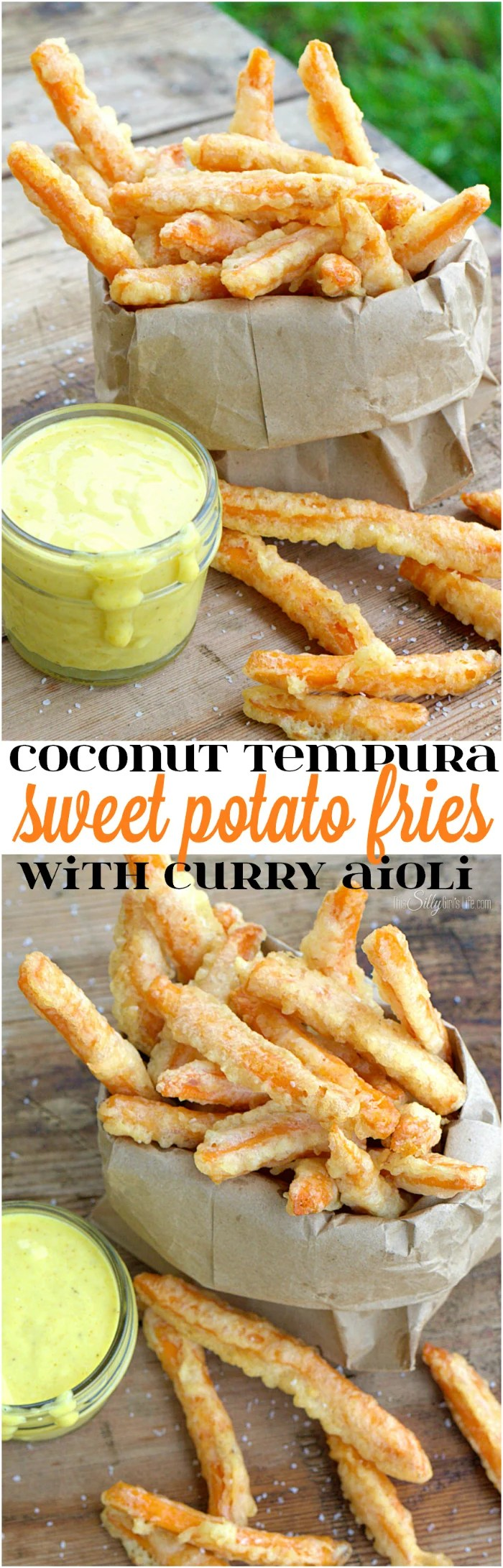 Coconut Tempura Sweet Potato Fries with Curry Aioli, frozen sweet potato fries, dipped in a light and crispy tempura batter and served with an amazing aioli sauce. #SpringIntoFlavor #ad - ThisSillyGirlsLife.com