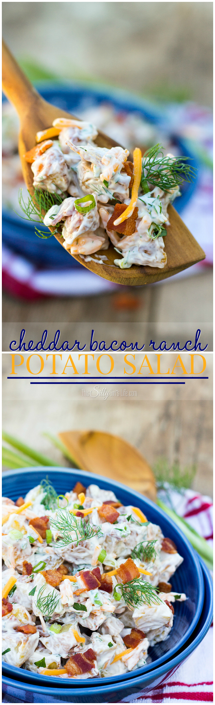 Cheddar Bacon Ranch Potato Salad, the name says it all, roasted potatoes combined in a creamy dressing with fresh dill and scallions! -- ThisSillyGirlsLife.com #sponsored #ad #boldbacon