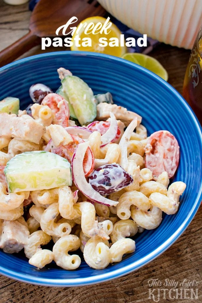 Creamy Greek Pasta Salad, loaded with veggies, grilled chicken and feta, tossed in a tangy yogurt sauce and served with citrus infused tea, the perfect summer meal! from ThisSillyGirlsLife.com #SummerTastes AD