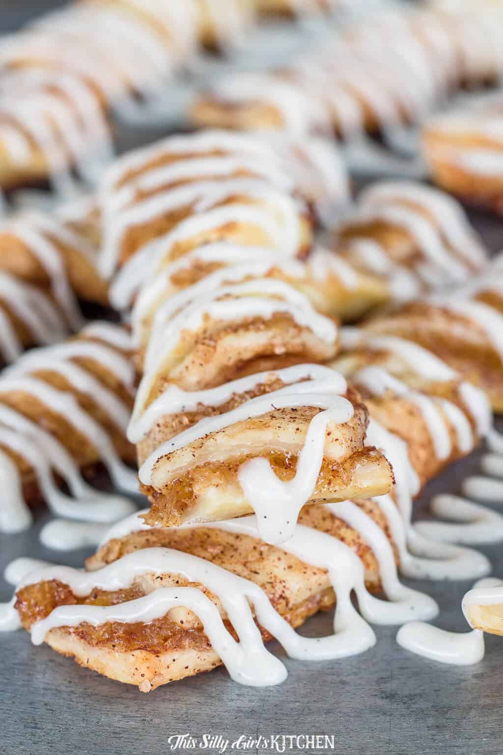 Close up of one stacked Apple Cinnamon Twist