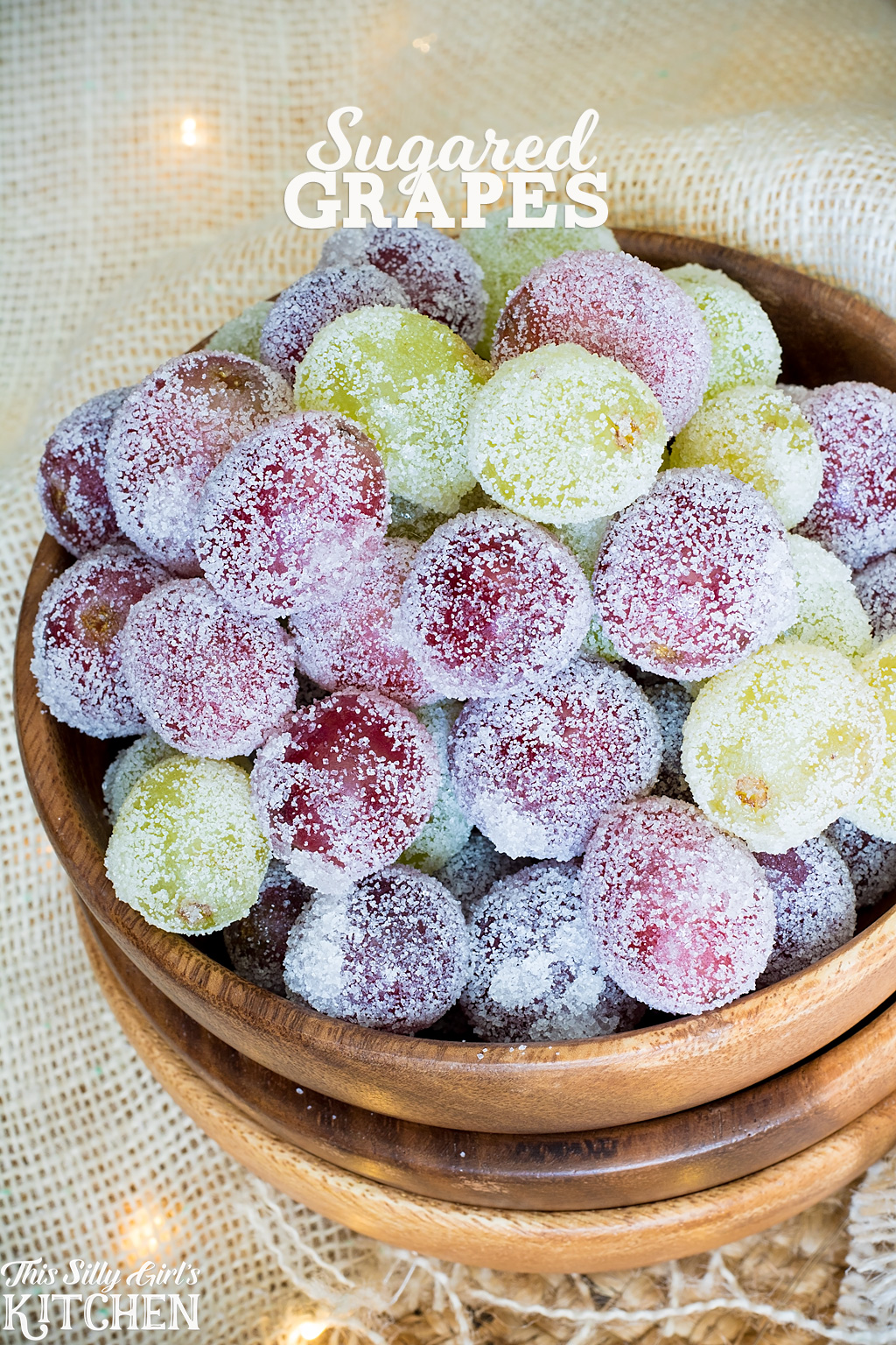 Sugared Grapes, a fun holiday snack or beautiful cake decoration! from ThisSillyGirlsKitchen.com