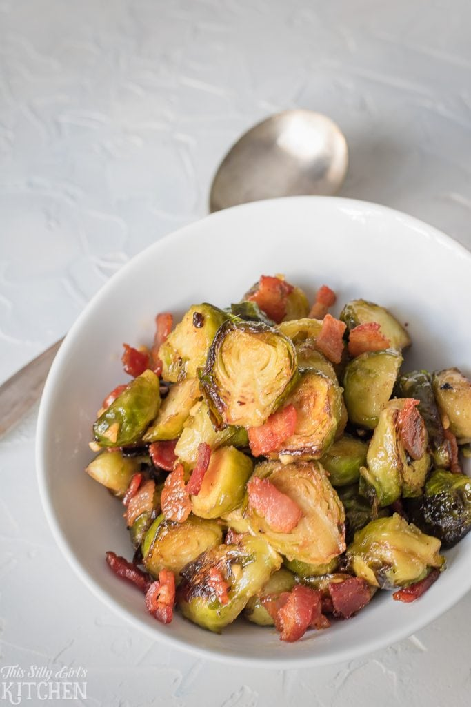 Overhead of Brussel Sprouts in white dish