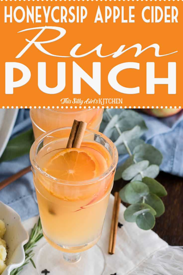 Honeycrisp Apple Cider Rum Punch, a spiced apple cider punch perfect for the holidays! Recipe from ThisSillyGirlsKitchen.com #rumpunch #thanksgiving #christmas #applecider #appleciderrumpunch