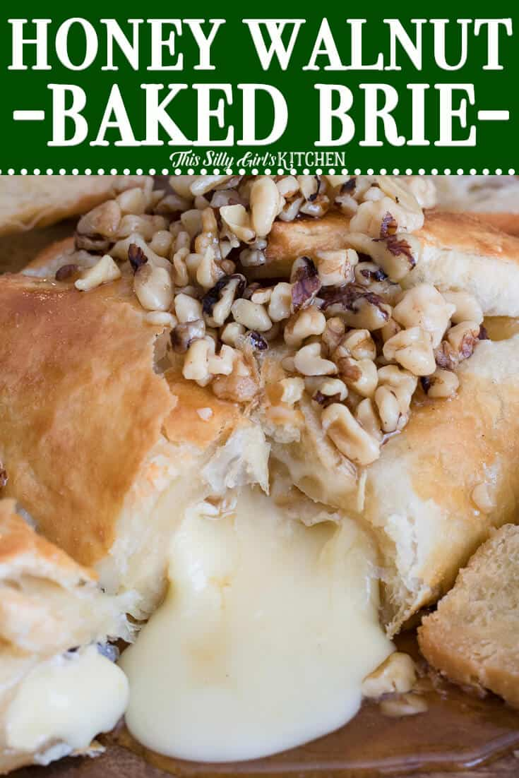 Close up of cheese flowing out of shell topped with walnuts and honey Pinterest Image