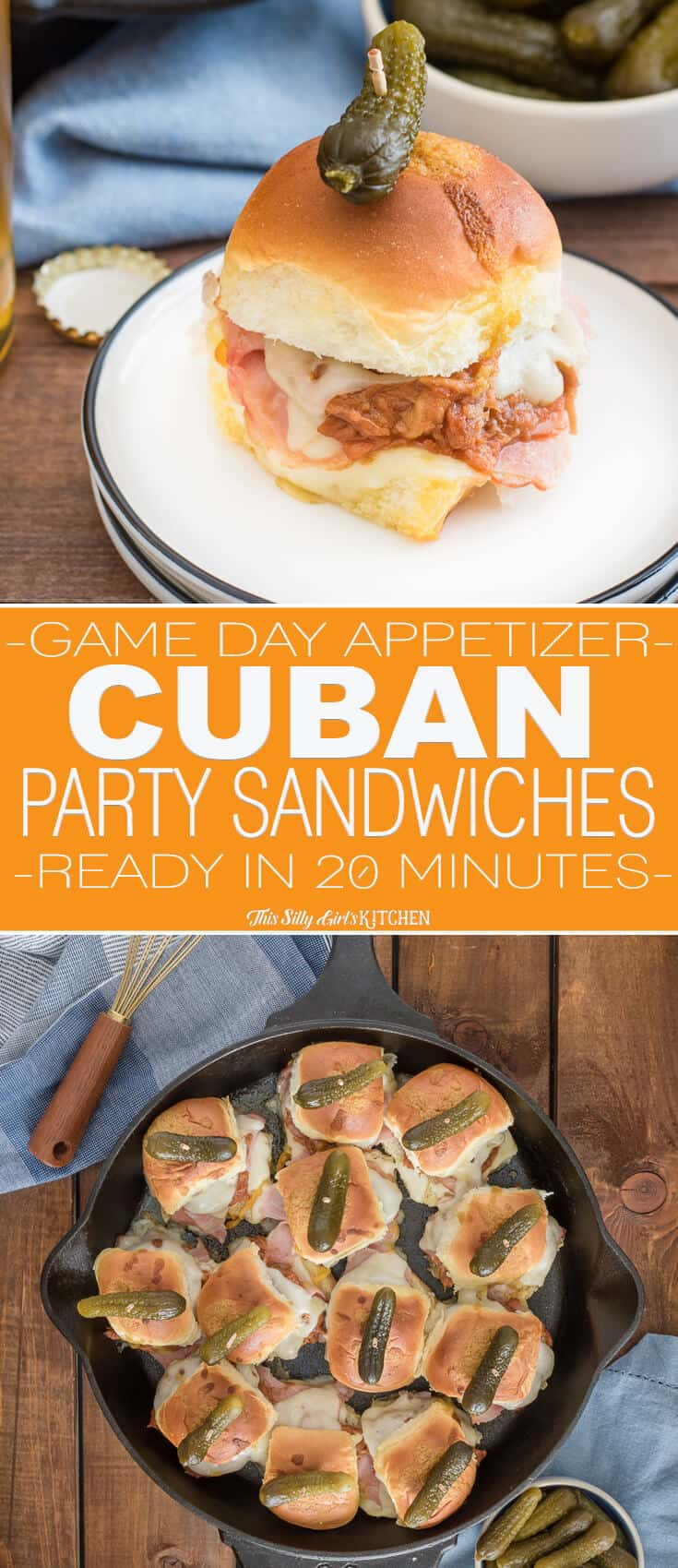 Baked Cuban Party Sandwiches, classic Cuban sandwich flavors in slider form, perfect for any party. #Recipe from ThisSillyGirlsKitchen.com #cubansandwich #appetizer #footballfood