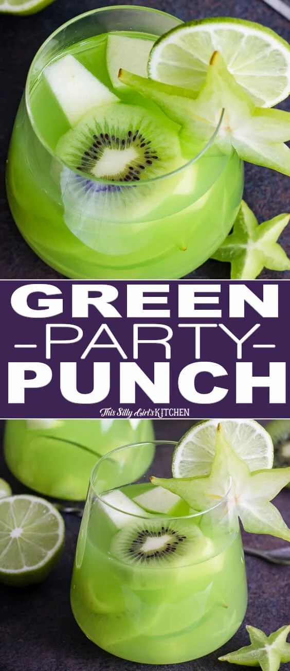 How To Make Green Party Punch, an easy and refreshing punch to serve at any party! #Recipe from ThisSillyGirlsKitchen.com #partypunch #punch #green #fruitpunch