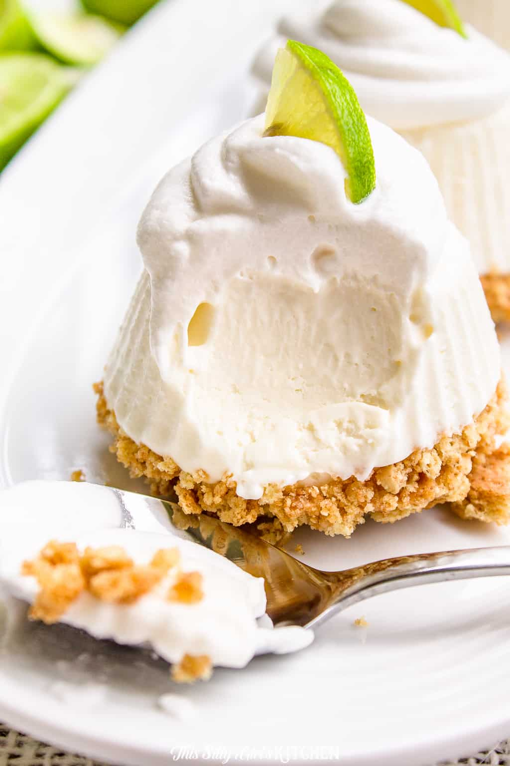 Key Lime Pie, cute little no-bake pies that will have your family raving for more! #recipe from thissillygirlskitchen.com #keylimepie #individualfrozenkeylimepie #keylime #summer #dessert #frozen #minikeylimepie