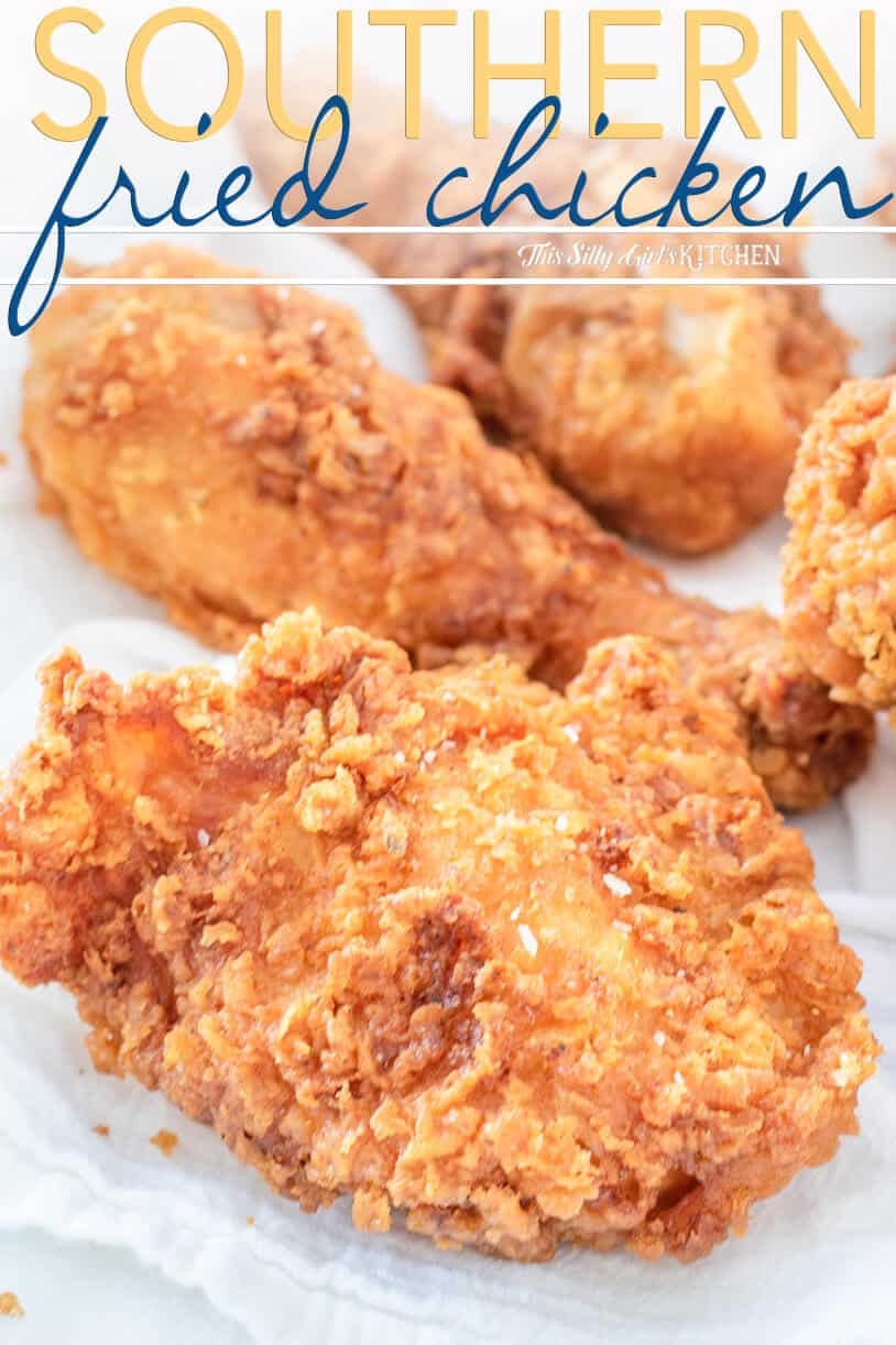 This southern fried chicken is crispy on the outside, juicy and tender on the inside. #recipe from thissillygirlskitchen.com #friedchicken #chicken #dinner #southern #southernfriedchicken #friedchickenbatter
